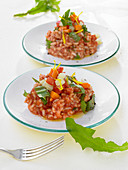 Dandelion risotto with carrots, tomatoes and kohlrabi