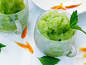 Lemon balm sorbet in glasses