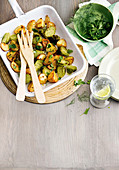 Lemon-roasted Brussels sprouts and potatoes