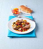 Rindergeschnetzeltes mit Paprika und Oliven