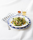 Scialatielli Pasta with Anchovies, Zucchini and Botargo