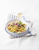 Paccheri Ondulati Pasta with Sardines and Caponata Sauce