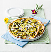 Pie with Potatoes, Fresh Anchovies and Herbs