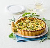 Pie with Zucchini, Spring Onions and Feta Cheese