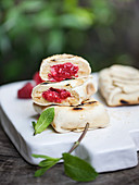 Barbecued Fagottini with raspberry filling