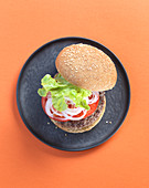 A hamburger with tomatoes, onions and lettuce