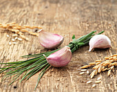 Garlic cloves, chives and ears of corn