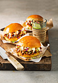 Sticky hoisin pulled pork and slaw burger
