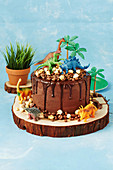Chocolate cake decorated with dinosaurs