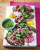 Butterflied leg of lamb with salsa verde