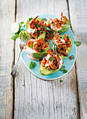Mexican prawns on avocado