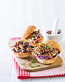 Coffee and spice pulled pork sliders