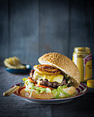 Squashed burgers with salt and vinegar onions