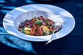 Pancetta lentils with mushrooms