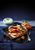 French toast with grilled plums and honey mascarpone
