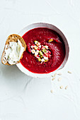 Roast Beetroot soup with Crispy topping