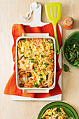 Quick crunchy topped-vegetable pasta bake