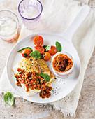 Pan-fried hake with sundried tomato pesto