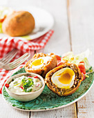 Scotch eggs with coriander mayonnaise
