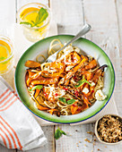 Pan-roasted carrot, dukka and feta pasta