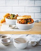 Beef pies topped with puff pastry