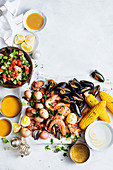 Cajun seafood boil with corn