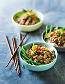 Chinese spiced mince on rice with green beans