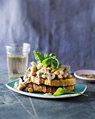 Creamy, garlicky mushrooms and chickpeas on toast