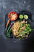 Green curry with coconut crunch