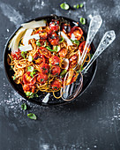 Slow-roasted tomato and basil spaghetti