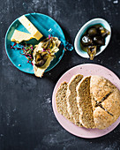 Soda bread with preserves and cheese