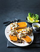 Mushroom, thyme and blue cheese stuffed butternut