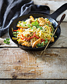 Spicy chicken and cabbage stir-fry