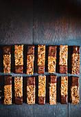 Choc-dipped sesame nut bars