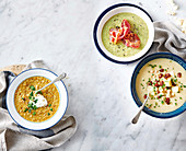 Moroccan carrot soup, Broccoli and cheese soup, Chickpea and leek soup with chorizo