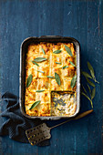Creamy ravioli, pumpkin and leek lasagne