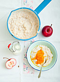 Porridge with apple and pumpkin puree
