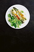 Asparagus cannelloni with easy cheesy sauce