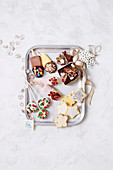 Dipped paddle pops, mini doughnut wreath pop, sparkly christmas stars, chocolate crackle rocky road