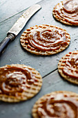 Wafers biscuits with salted caramel