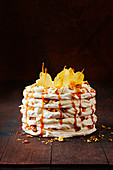Salted meringue and golden pear crunch stack