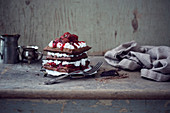 Waffles with soy buttercream and Black Forest style cherries (vegan)