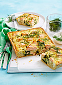 Quinoa, salmon and ricotta quiche
