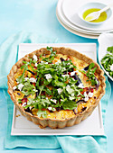 Roast vegetable quiche with rocket