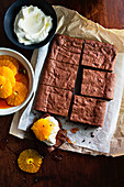 Chai brownies with cardamom caramel orange