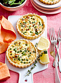 Gluten-free chicken, pea and ricotta pies