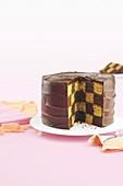 Mocha chequerboard cake