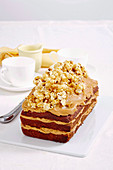 Caramelised popcorn and banana cake