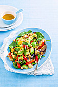 Eggplant, avocado and chickpea salad