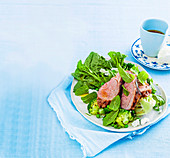 Char-grilled lamb rump with brocoli salad